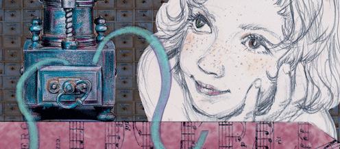 """Detalle de una ilustración de """"Arrecife y la fábrica de melodías"""" de Concha Martínez Pasamar"""